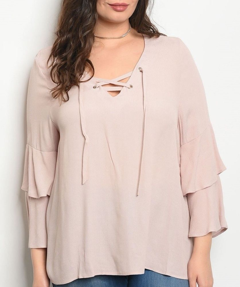 5b712e357752f1 BLUSH PINK Size 1X SHIRT TOP Lace Up WOMENS PLUS 3/4 Sleeves VERY J NWT NEW  #fashion #clothing #shoes #accessories #womensclothing #tops (ebay link)