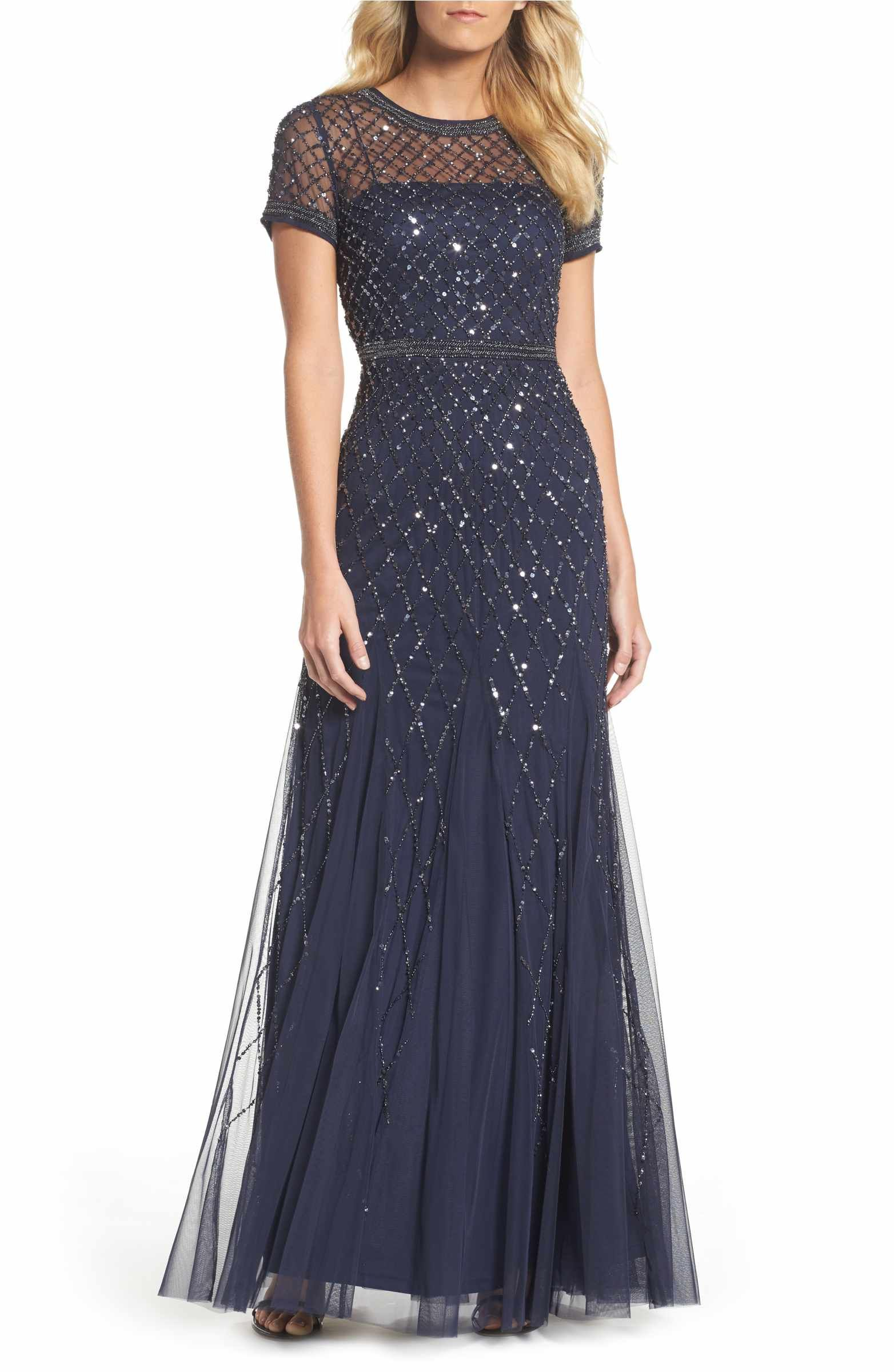 Main Image - Adrianna Papell Beaded Mesh Gown (Regular & Petite ...