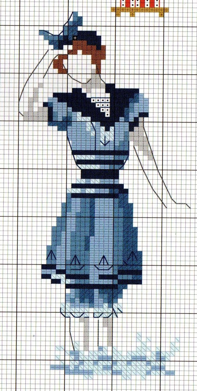La baigneuse d 39 antan broderie pinterest gravures de mode veronique enginger et v ronique - Veronique enginger grille gratuite ...
