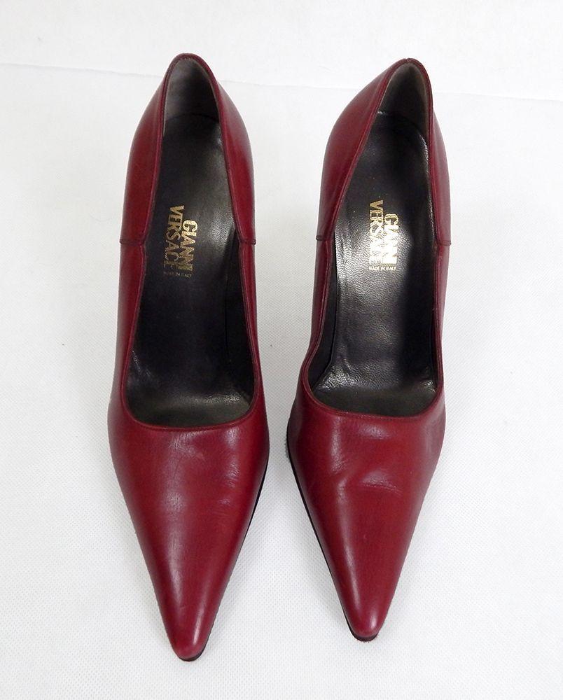 Vintage Designer Shoes 1980s Versace Red Leather Pointed Court Shoes Vintage Versace Shoes Vintage Shoes Versace Shoes Shoes