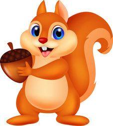 Squirrel Cartoon With Nut Cute Squirrel Squirrel Clipart Squirrel