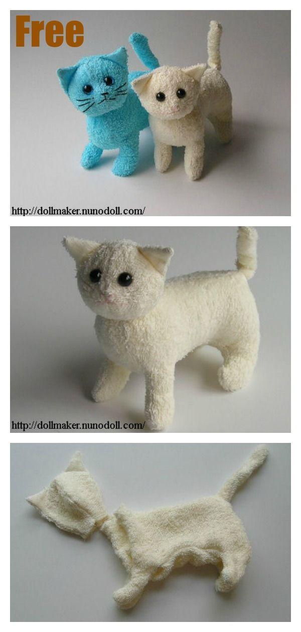 Stuffed Kitty Cat Free Sewing Pattern #startsewingfreepattern #easysewingprojects #sewingforbeginnerseasy #sewtoys