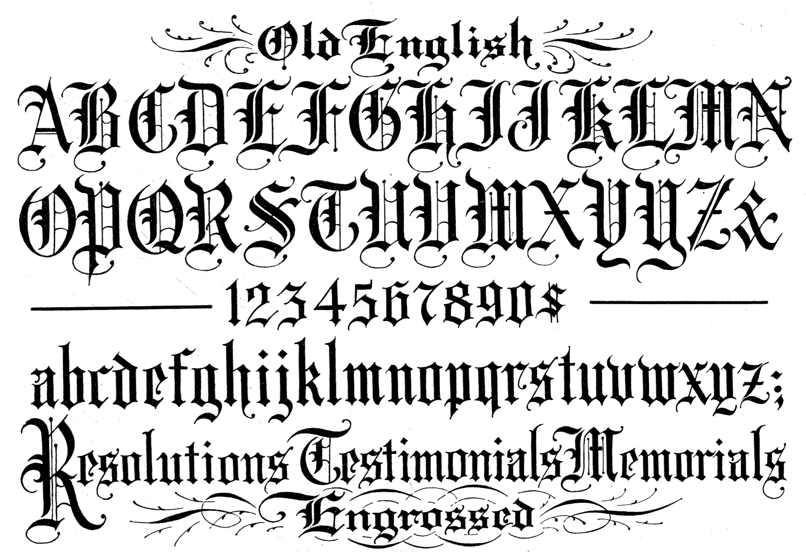 Old English Font Letters English calligraphy, Old