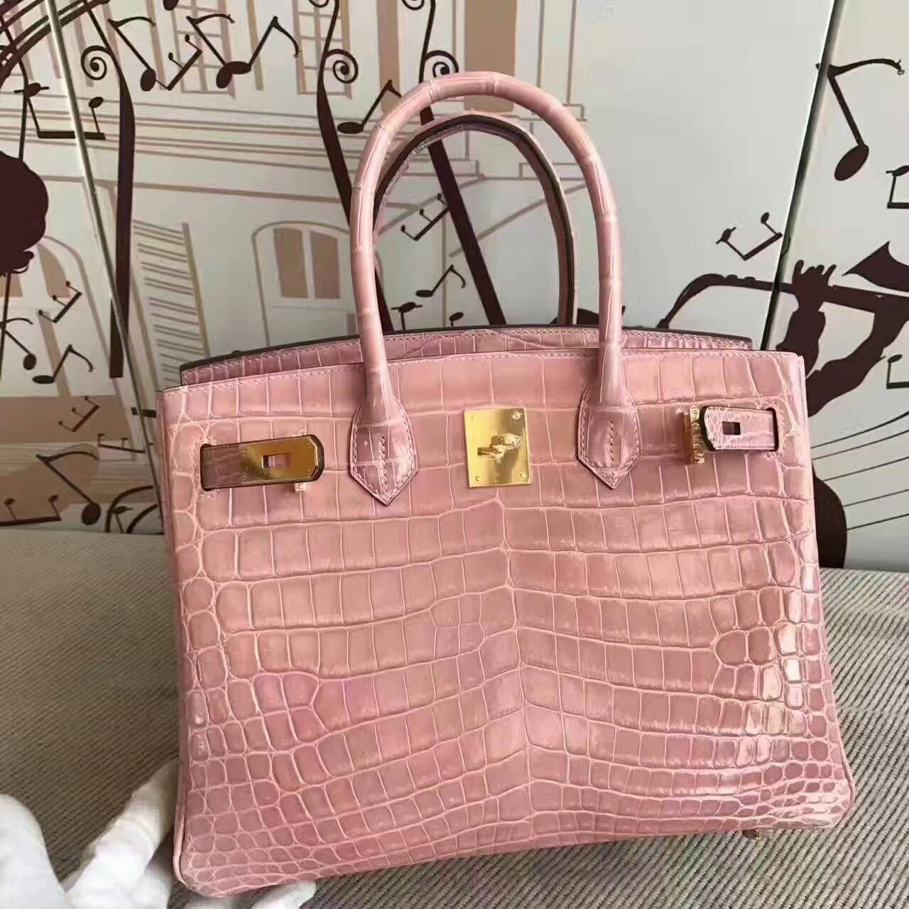 a0524497b1 New Pretty Hermes Birkin Bag 30cm in 5Z Rose Indienne Crocodile Shiny  Leather — Hermes Crocodile Birkin Bag  Hermeshandbags