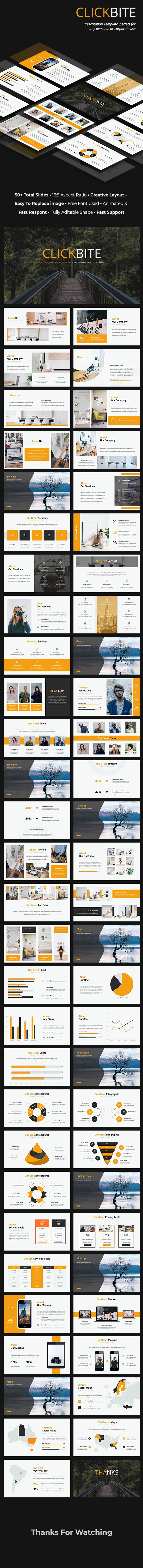 clickbite creative powerpoint template 90 total slides animated