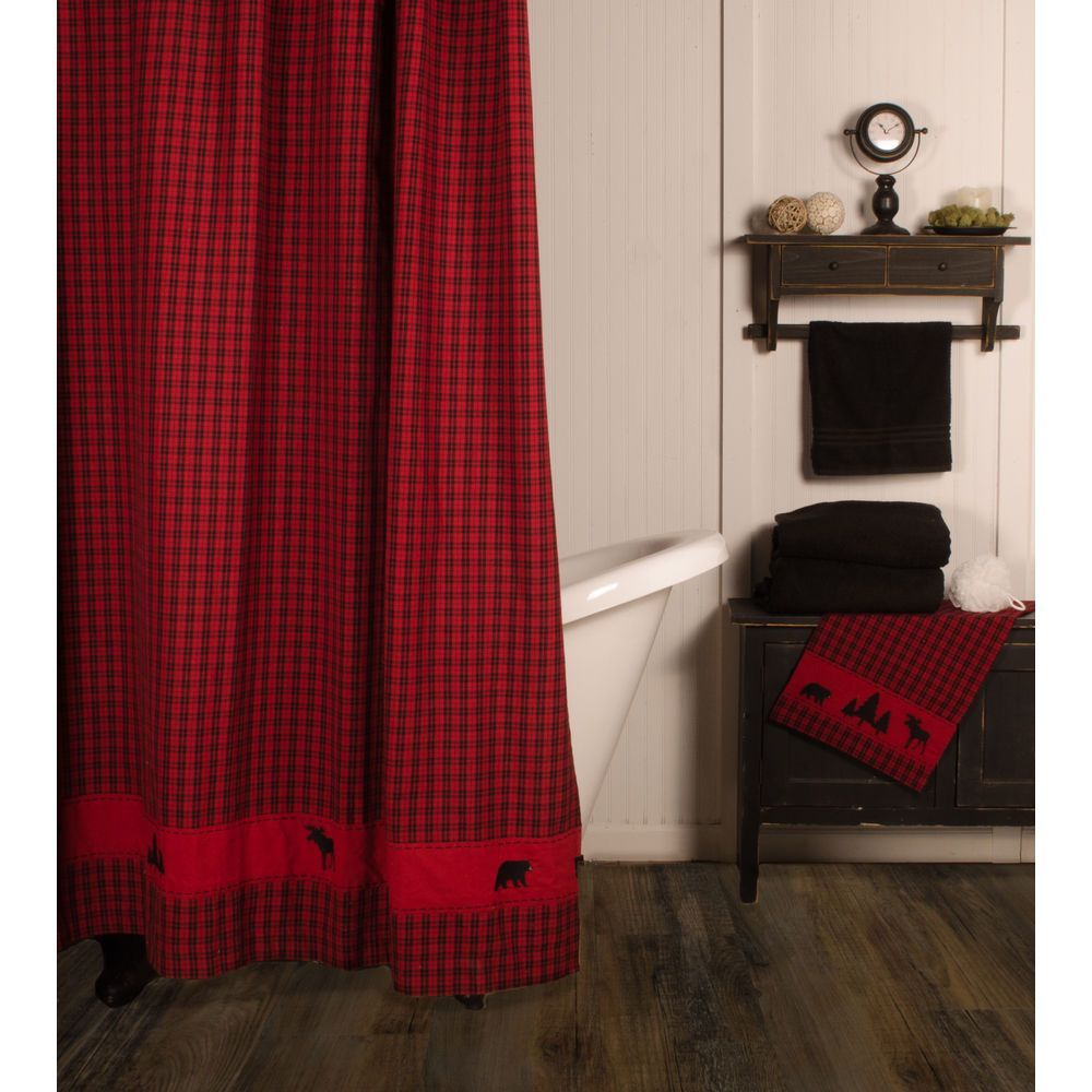 New Rustic Hunting Camp Lodge Cabin Red Black Bear Moose Fabric