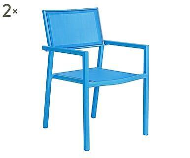 Set di 2 sedie in alluminio e textilene Kristin blu, 56x86x58 cm