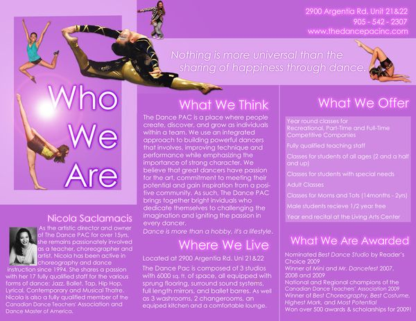 Sample Dance Studio Brochure On Purple Background  Dance Studio