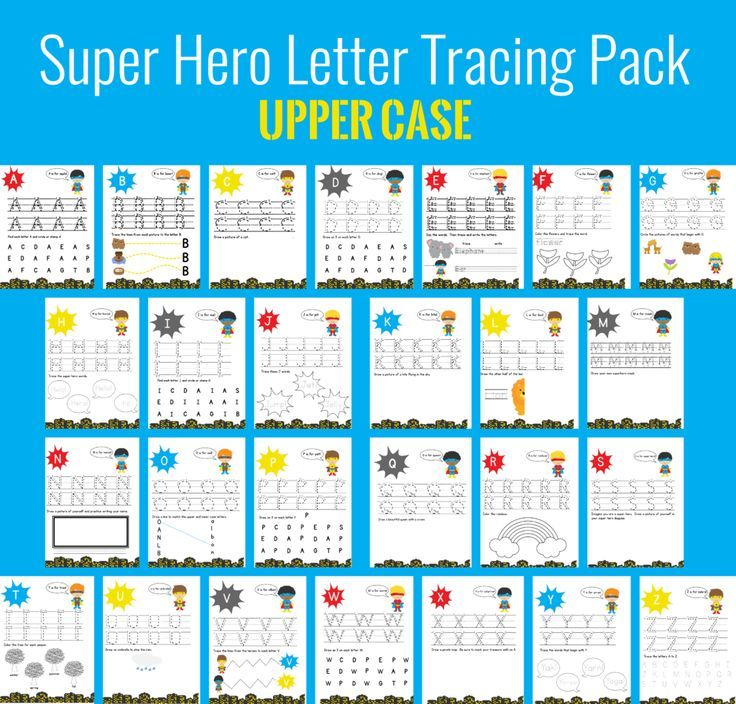 Free printable super hero letter tracing pack for preschoolers to ...