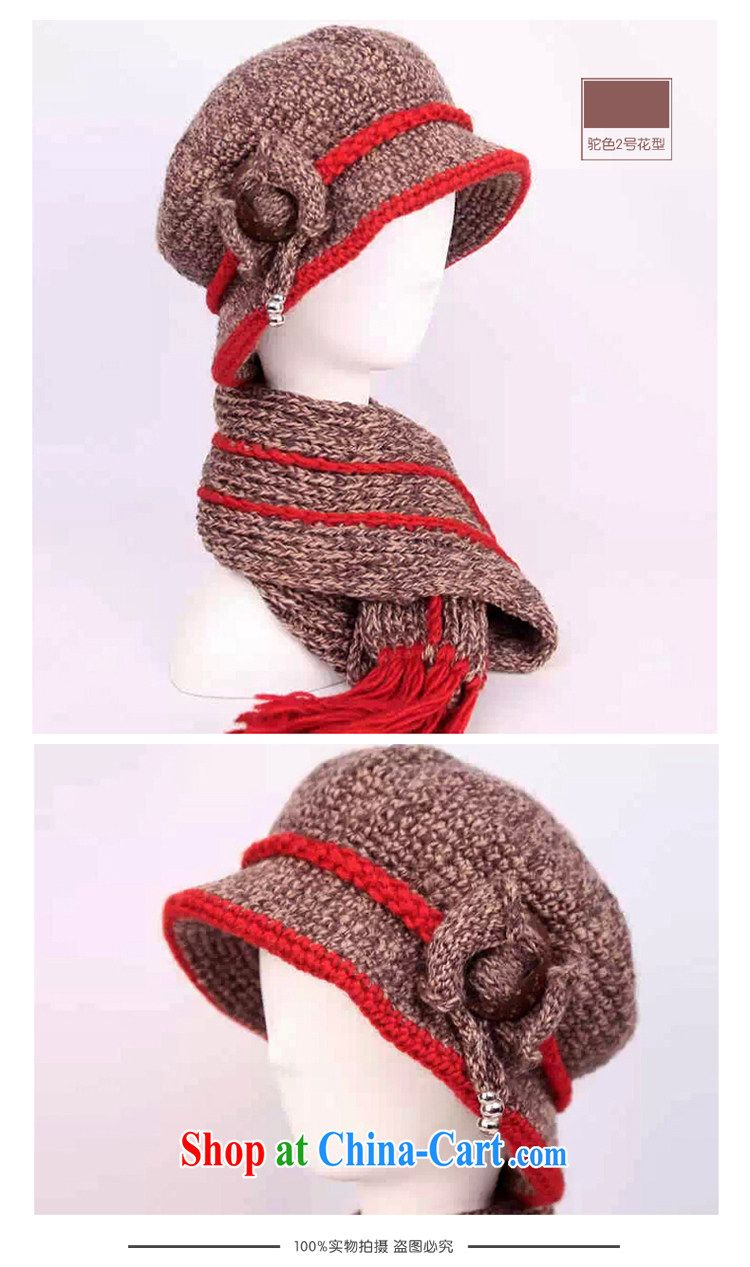 3889a3f4c44a6 The old hat girls winter hat elderly ladies winter wool hat scarf two-piece  coconut buckle red stretch cap port 54 - 60 cm