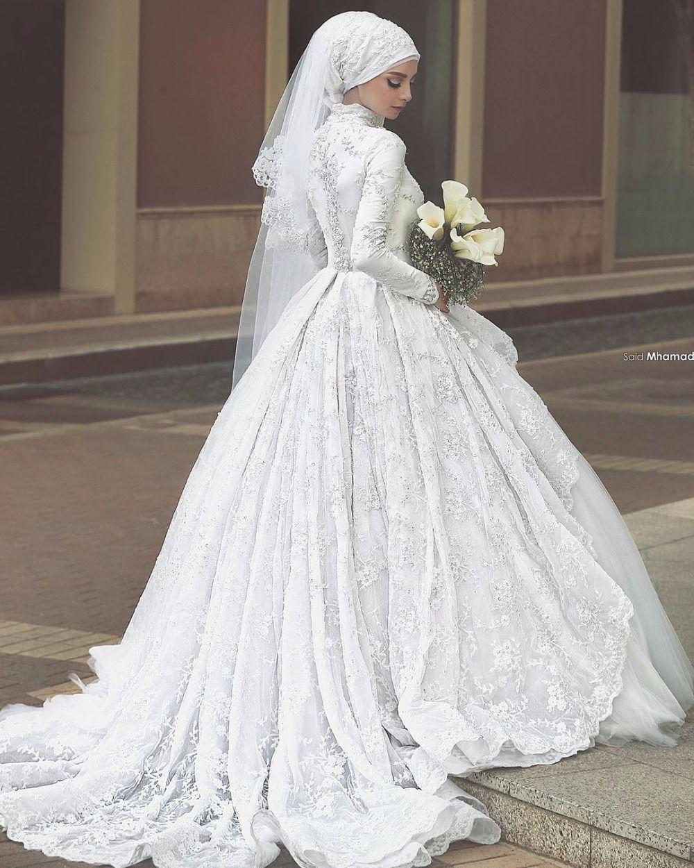 Said Mhamad Princess Hijab Arabic Muslim Lace Long Sleeve Wedding Dresses 2016 Luxury Beads Bridal Robe De Mariée Arabe Robe De Mariee Robe De Mariée Musulmane