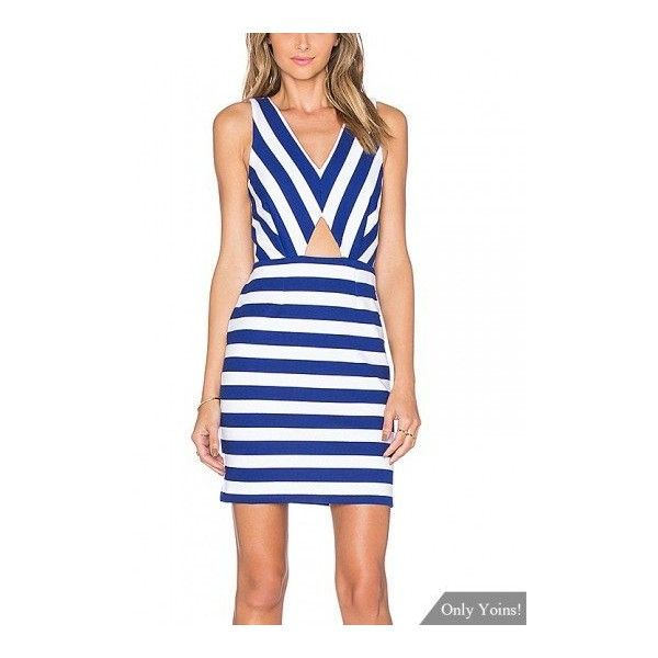 Stripe Cut Out Mini Dress (€11) ❤ liked on Polyvore featuring dresses