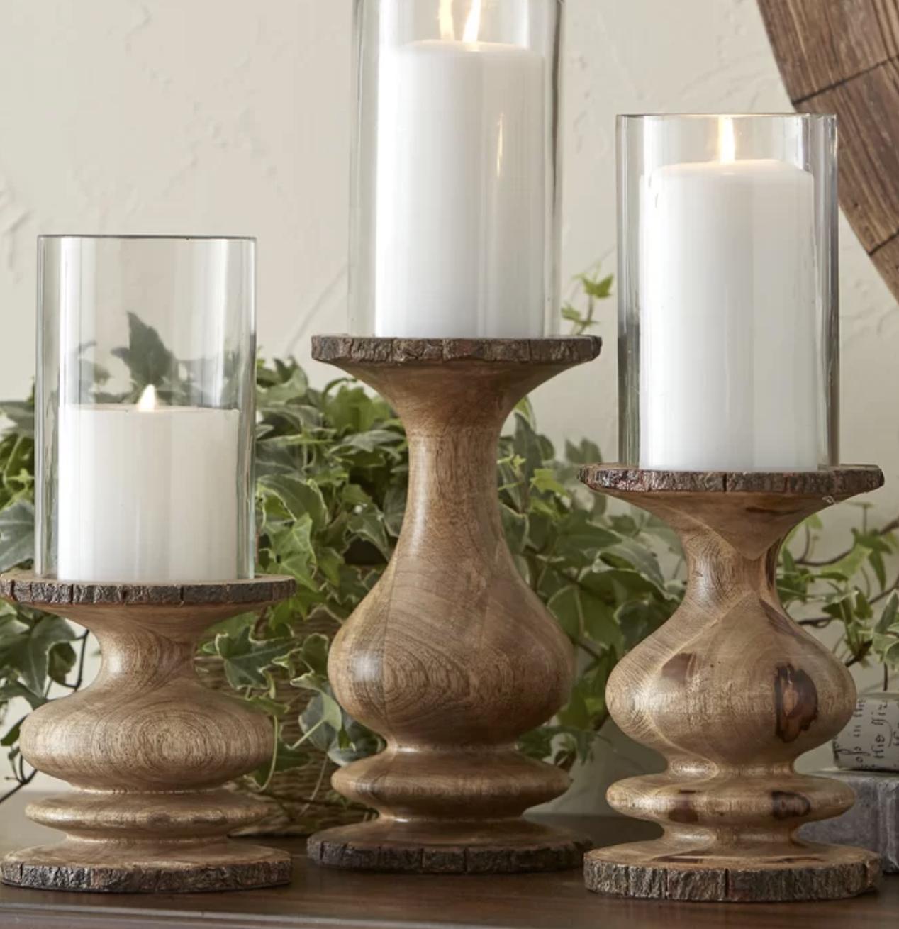 3 Piece Glass And Wood Hurricane Set Wood Candle Holders Wood Candles Candle Holders