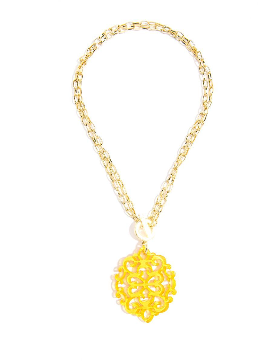 Modern damask pendant necklace yellow new spring resin colors