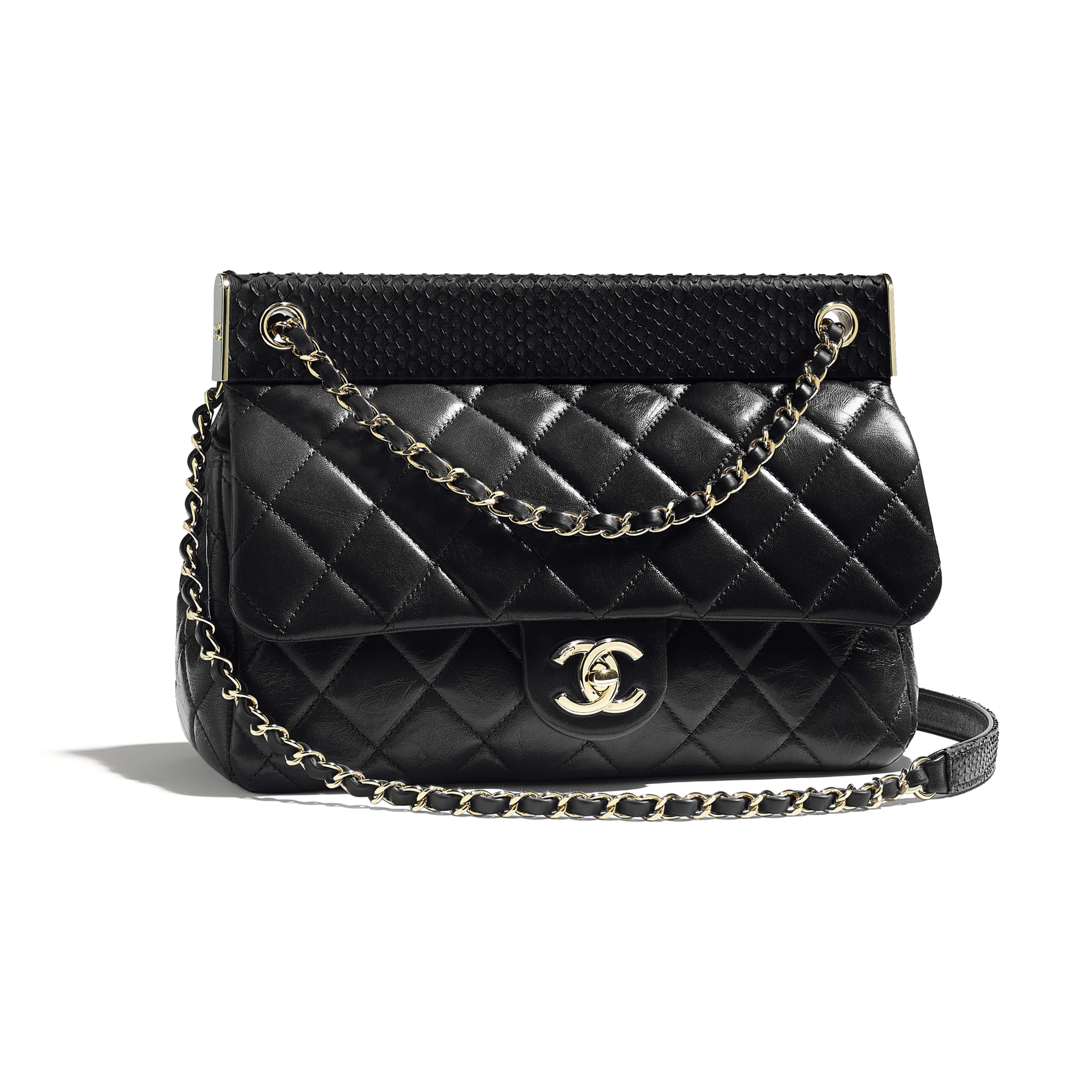 906c8ad4a9c453 Flap Bag Lambskin, Python & Gold-Tone Metal Black - view 1 - see full sized  version