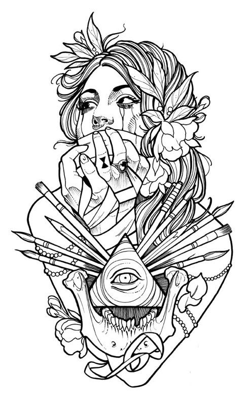 Pin By Da Londa Taylor On Coloring Pages Tattoo Coloring Book Makeup Artist Tattoo Brush Tattoo