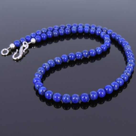 Photo of Men's Women Lapis Lazuli Sterling Silver Necklace Gemstone 925 Spacers Clasp DiyNoion Handmade NK032