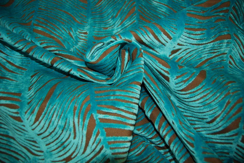 Peacock Plume Luxurious Cut Velvet Turquoise Blue Heavy Velvet - Designer upholstery fabric teal