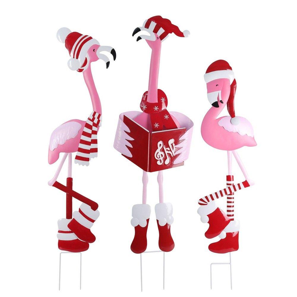 Christmas Metal Flamingo Trio Yard Art Decorative Holiday Scene Props Haute Decor In 2020 Flamingo Christmas Christmas Yard Decorations Yard Art