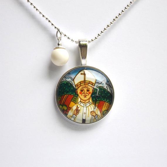 Pope John Paul II necklace Pope John Paul II pendant Saint pendant