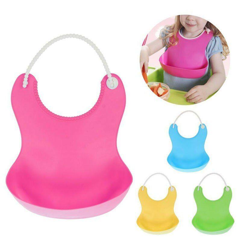 Baby Feeding Bib Children Feeding Silicone Adjustable Food Catcher Waterproof