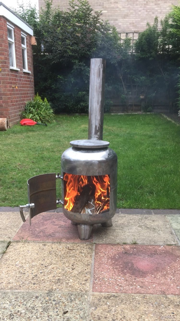 Gas Bottle Wood Burner In Garden Patio Barbecuing Outdoor Heating Firepits Chimeneas Ebay Gas Bottle Wood Burner Wood Burner Wood Fire Pit