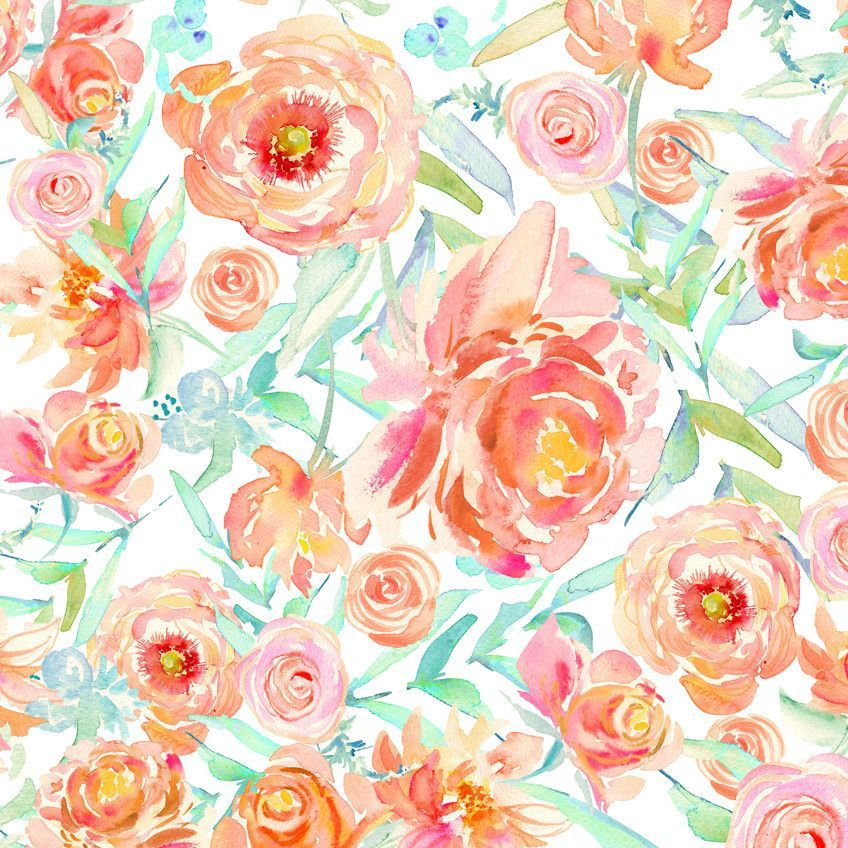 Peach Peony Watercolor Wallpaper Apple Watch Wallpaper Floral