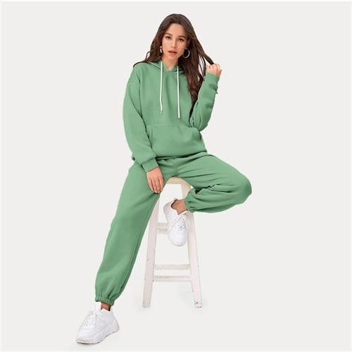 Ensemble assorti à capuche et à capuche avec poche à épaules tombantes – Vert clair / L   – Products
