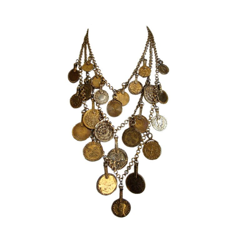 YVES SAINT LAURENT triple layered gilt coin necklace