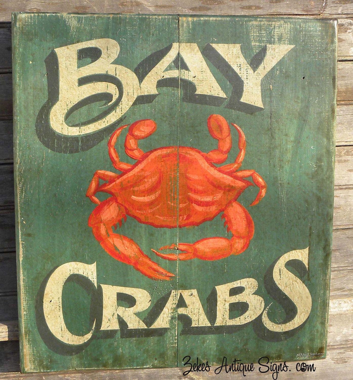 Bay Crabs Sign-wood , Original, Hand Painted Wooden ,art