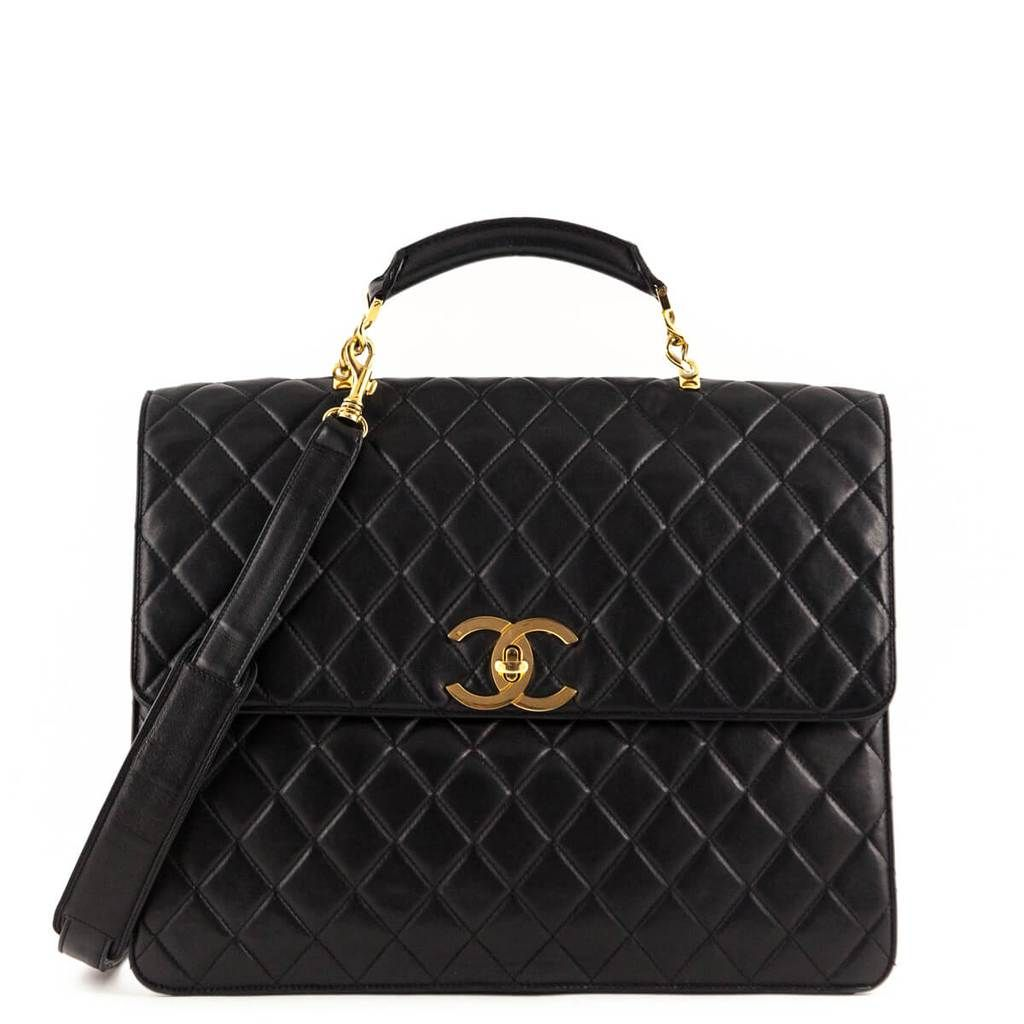 Chanel Black Lambskin Vintage Two Way Top Handle Love That Bag Preowned Authentic Designer Handbags 3980ca Chanel Handbags Used Chanel Bags Chanel Black