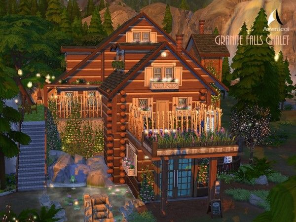 The Sims Resource Granite Falls Chalet By Aveniccix Sims 4 Downloads Granite Falls Sims 4 Houses Sims House