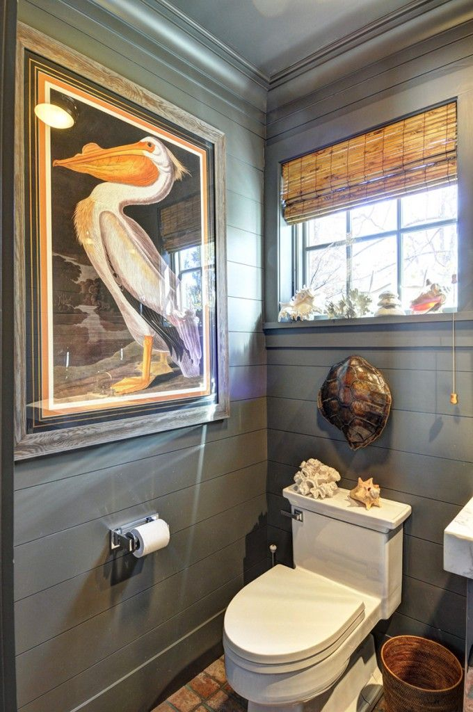 ideas for bathrooms decorating%0A East Hampton   Powder Room   Bathroom   Dark Walls   Bamboo Shade