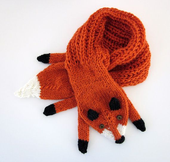 Hand knit fox scarf in red orange with polymer clay for Formulaire po ae artisanat