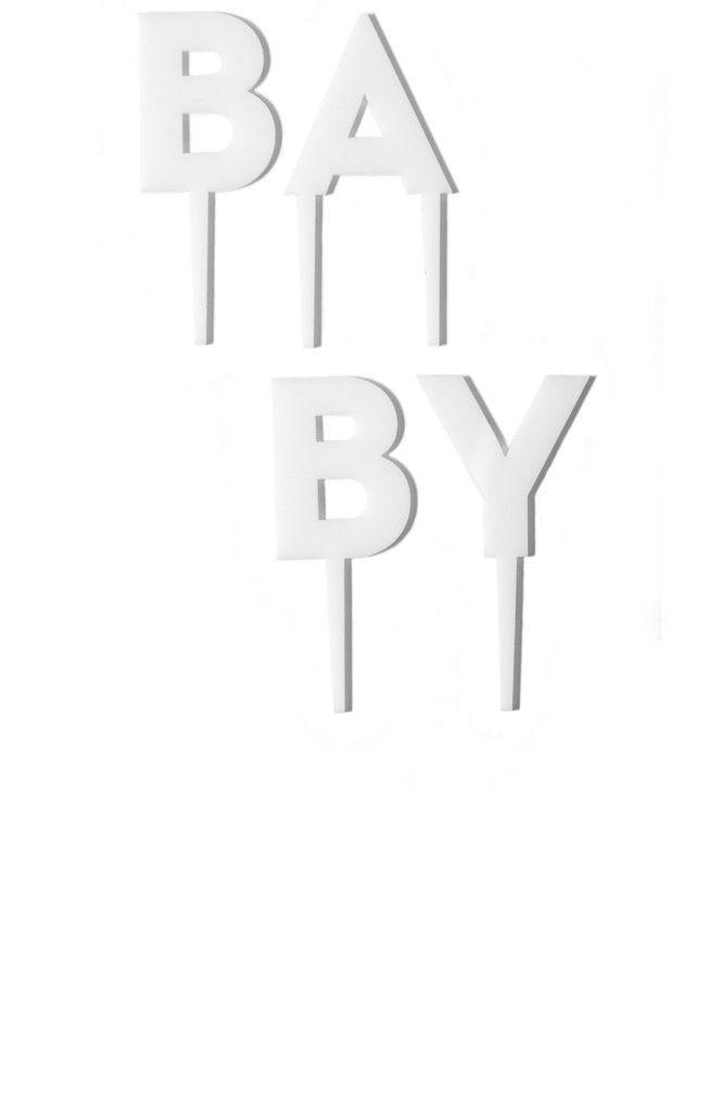 BABY Sans Serif Type Topper in White Acrylic from Splendid Supply Co: http://splendidsupply.com