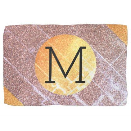 elegant faux pink gold glitter craquelure monogram kitchen towel rh in pinterest com