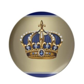 Royal Blue Gold King Prince Crown Plate