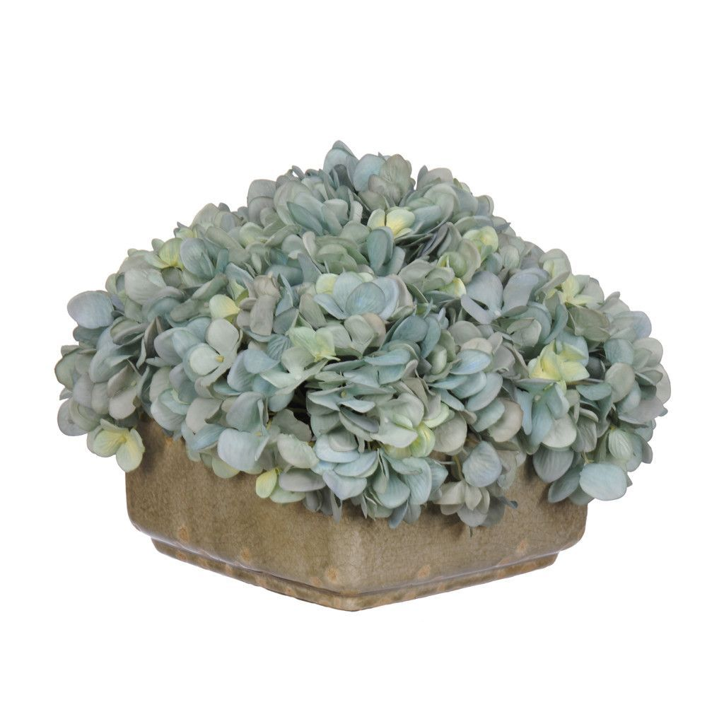 Artificial Hydrangea in Crackle Square Ceramic