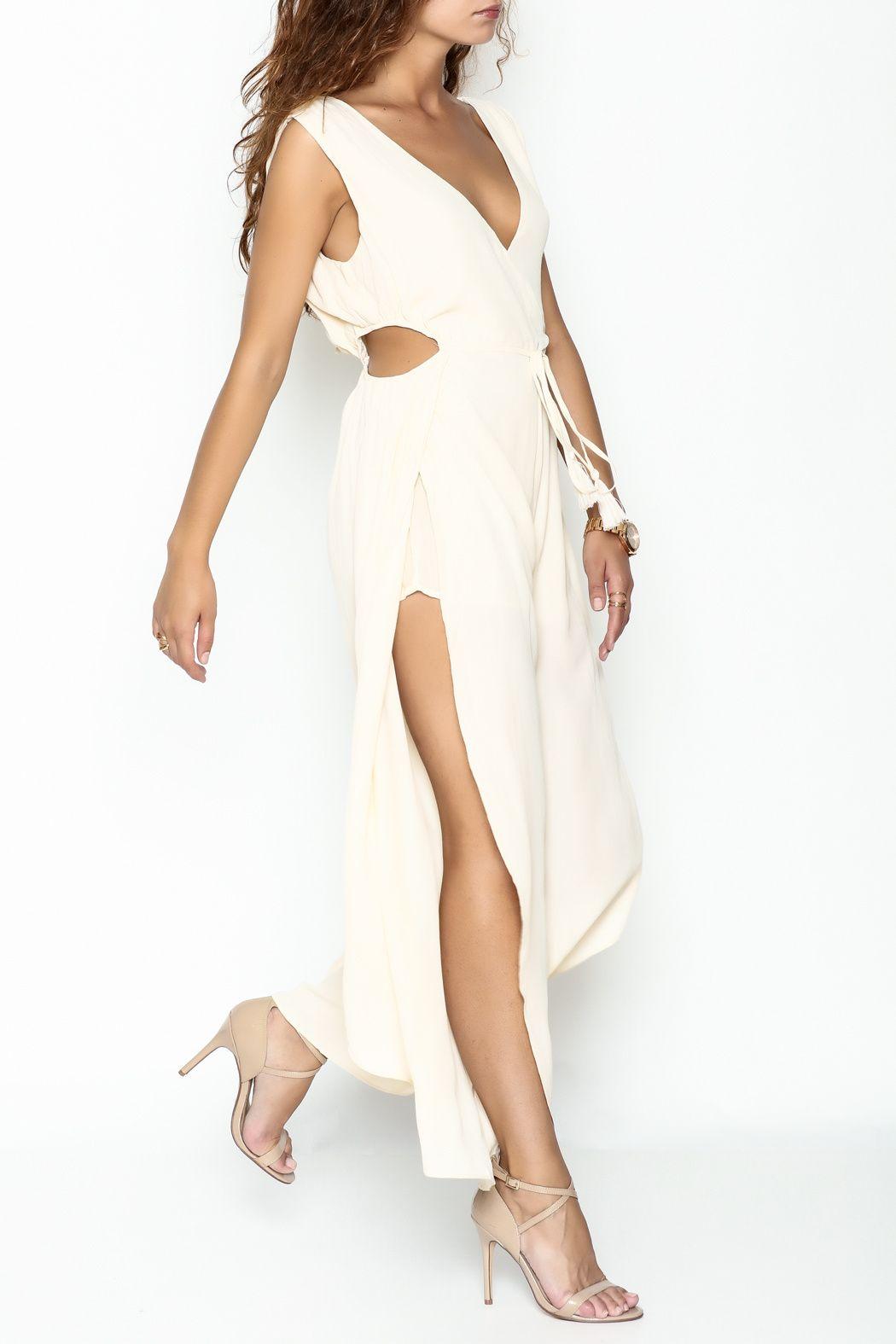 Honey belle open leg jumpsuit legs belle and tassels