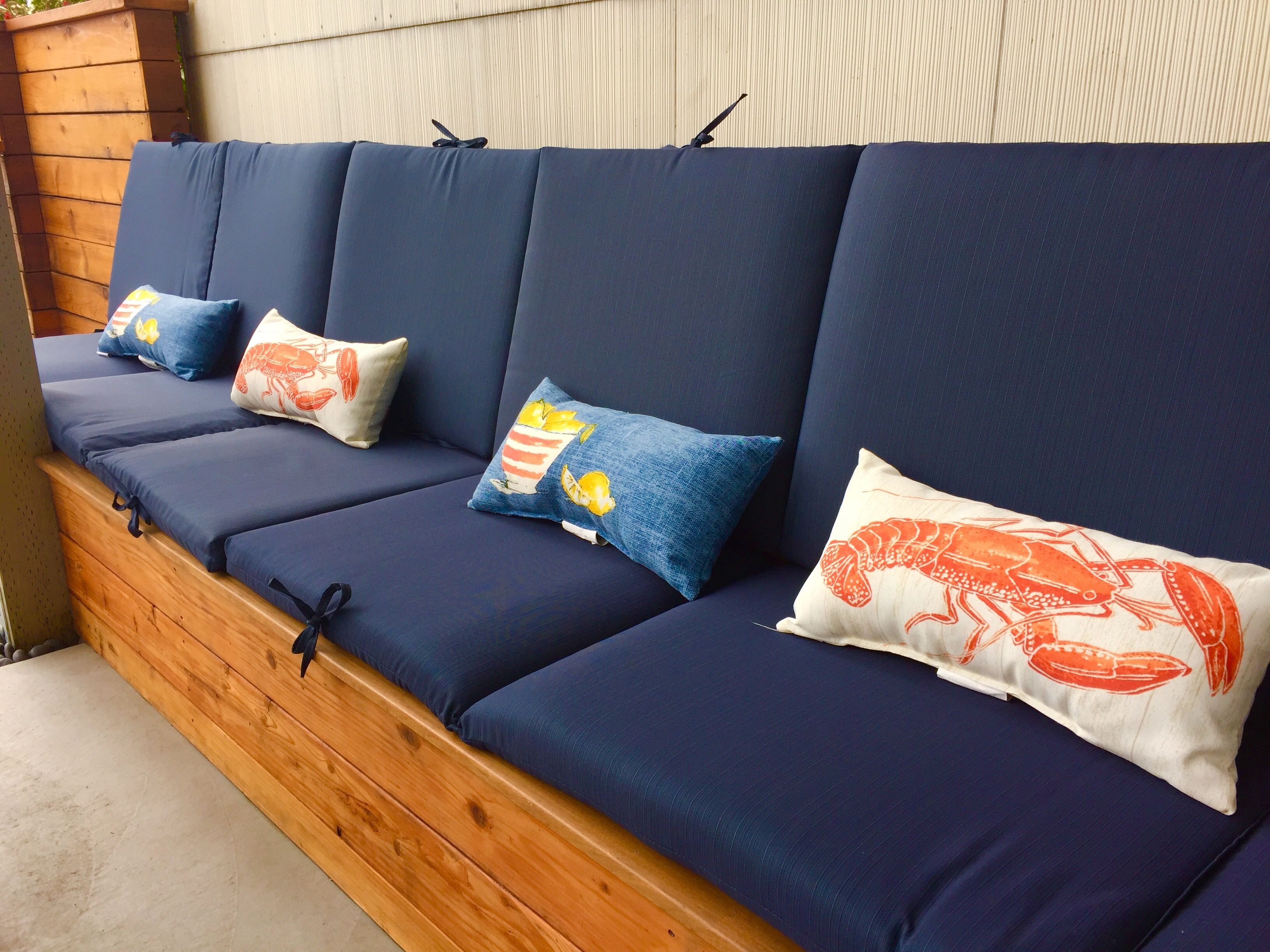 ipe wood lounge bench with patio cushions from target patio rh pinterest ch
