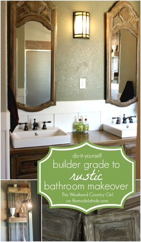 diy builder grade to rustic bathroom makeover with reclaimed wood rh pinterest com