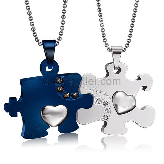 711d8c5881 Personalized Jigsaw Puzzle His and Hers Necklaces Set for 2 ...