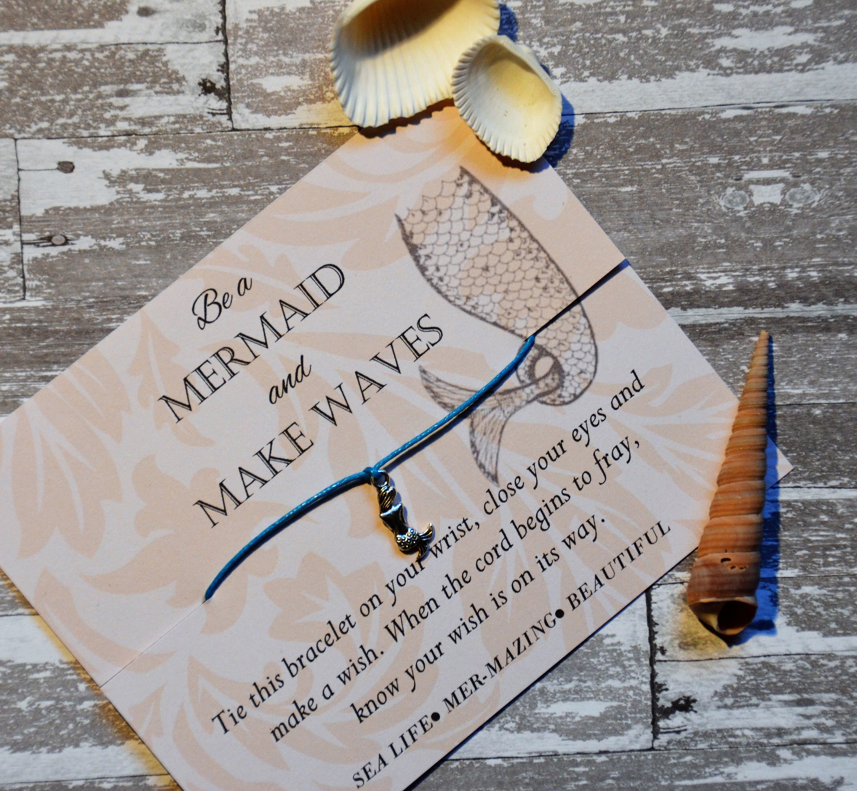 invitation wedding wording gifts%0A Mermaid  Party Favors  Be a Mermaid and Make Waves  Wish Bracelet  Beach