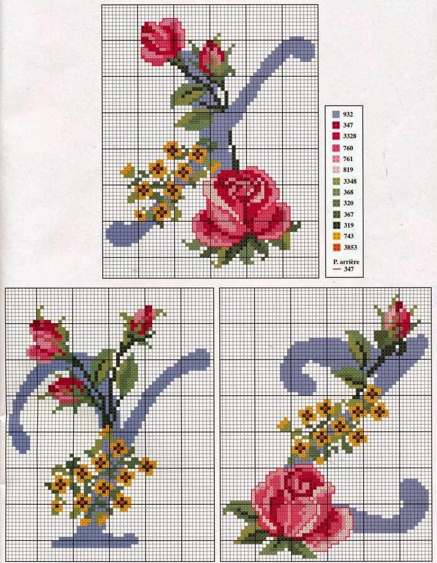 Abecedario en punto de cruz09 | abc flores | Punto de cruz ...