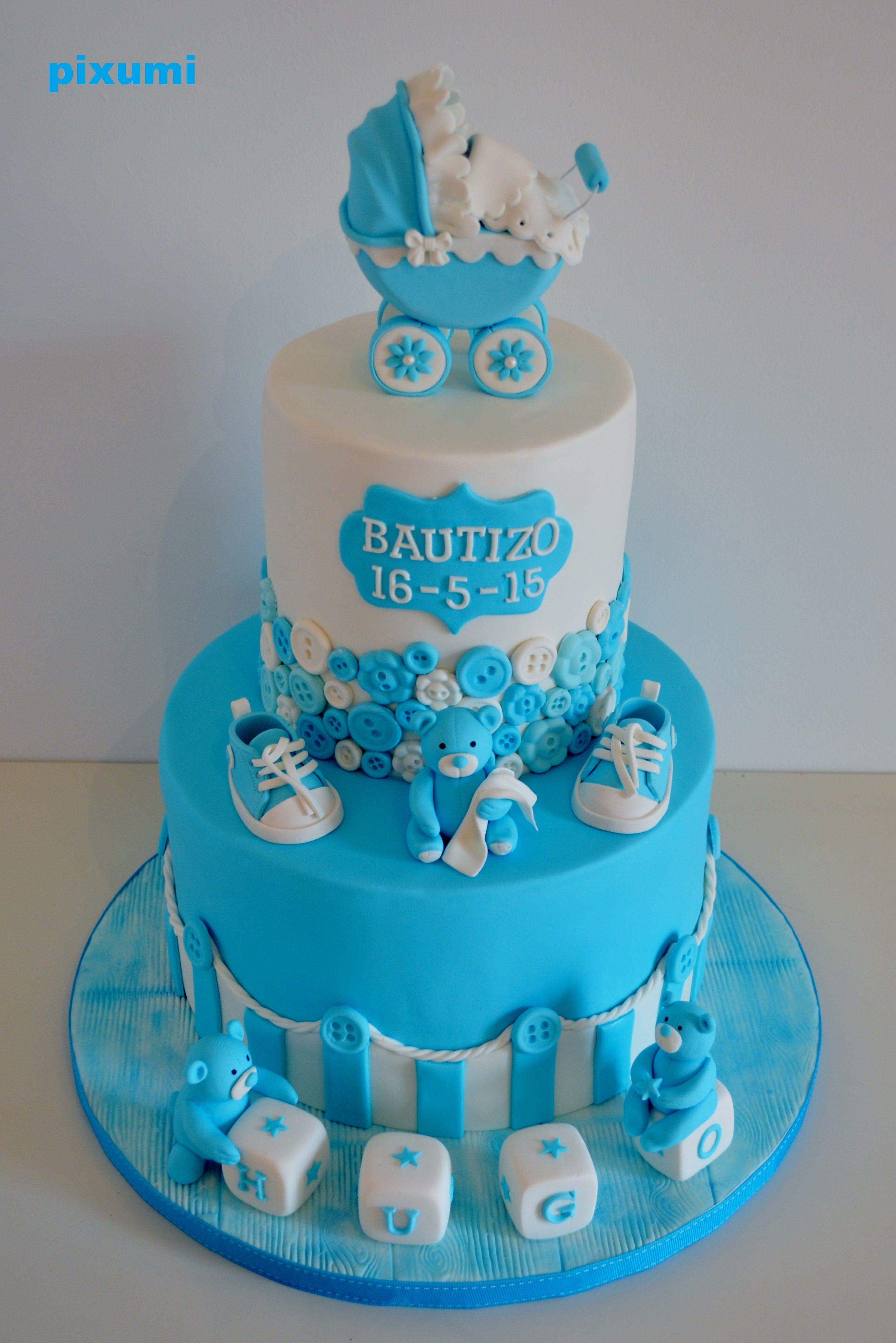 Pastel Bautizo Niño Cake Tarta Fondant Bautizo Baby Shower Niño