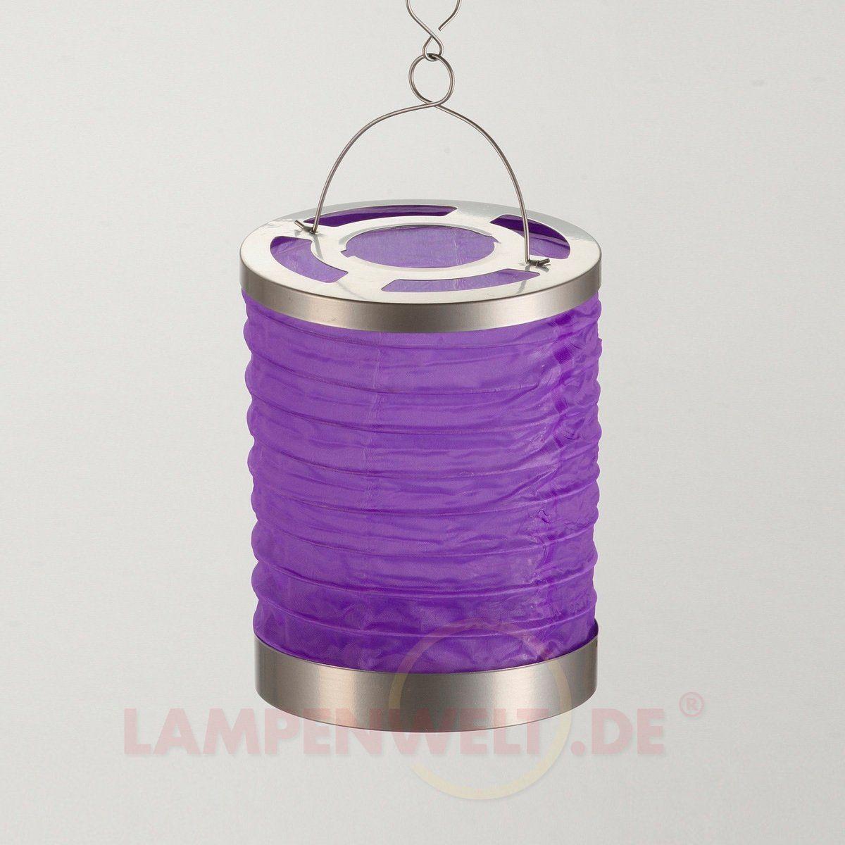 Schöne LED-Nylon Laterne Zylinder m. Solarp. lila 2506061
