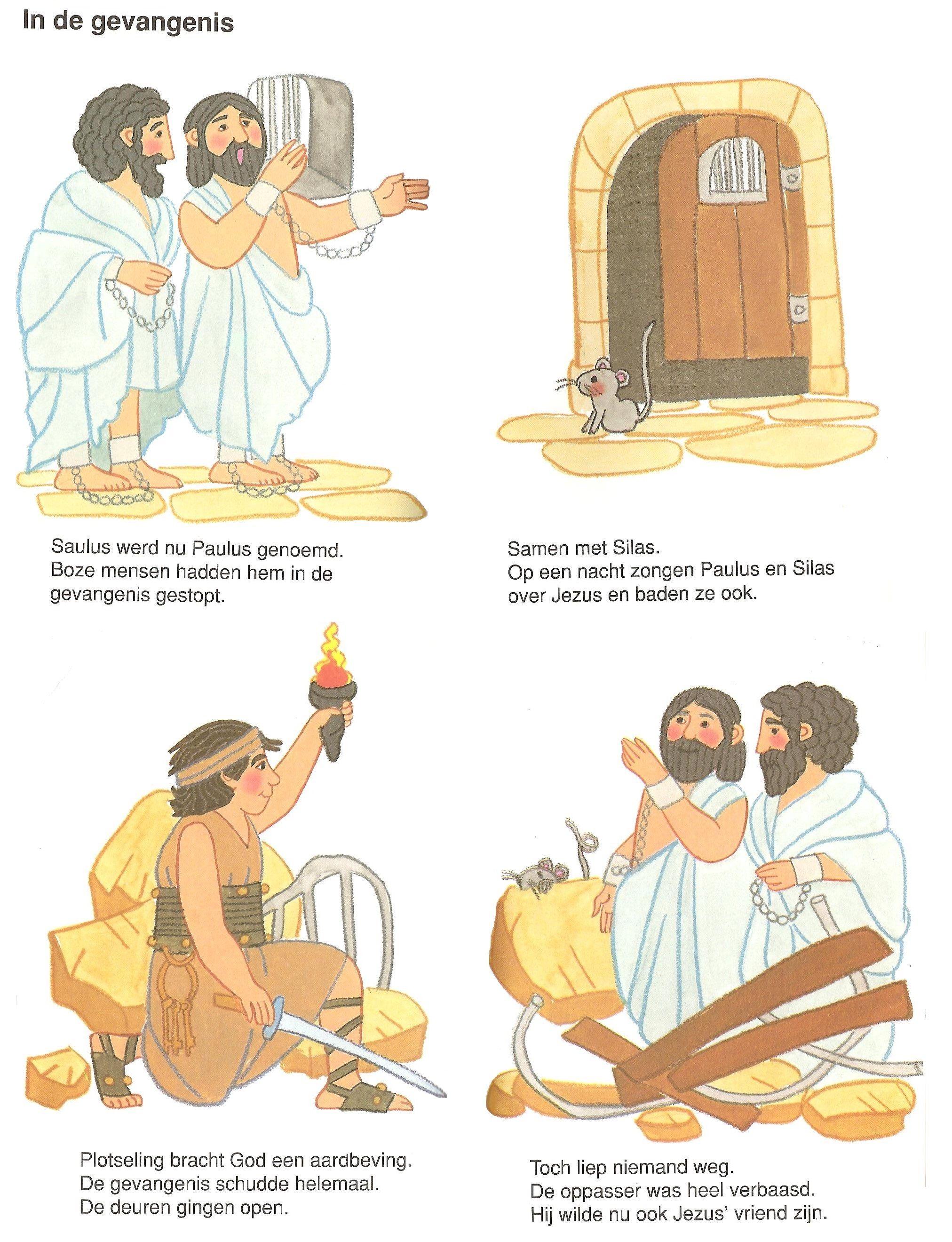 In De Gevangenis Paulus En Silas Bijbel Gevangenis Werkjes