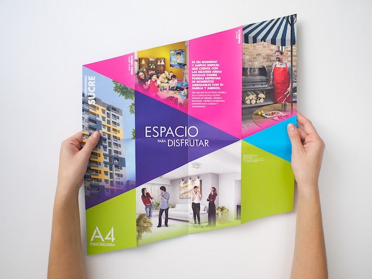 Brochurefor the Peruvian real estate A4, to promote a new project of apartment condo in Lima.  An unusual fold and format with colorful geometric shapes give more fun to the information and make the piece less ordinary.