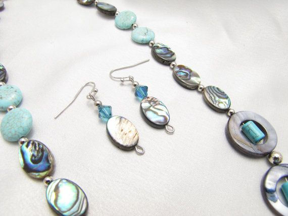Abalone Necklace Earrings Set SEASHORE DREAMING by PlethoraGifts
