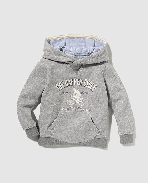 138f990f80b Sudadera de niño gris de manga larga con capucha
